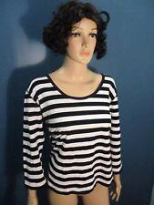 Plus Size 1X black/white STRIPED 3/4 LENGTH SLEEVE blouse by RAFAELLA