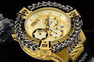 Invicta 53mm Reserve Bolt Hercules Swiss Gold Plated Black Strap Chrono Watch
