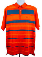 Oakley Golf Polo Shirt Regular Fit Mens Short Sleeve Size Xl Orange Blue Stripes