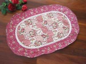 Country Red Rose Flower Patch Crochet Lace Cotton Quilted Oval Shape Mat Rug