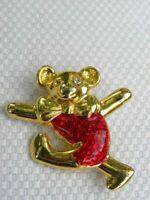 Teddy Bear Pin Brooch Gold Tone Metal Enamel Dancer