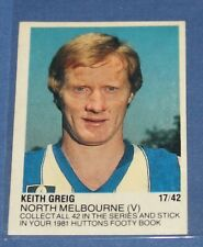 1981 Huttons Transfer Decal Keith Greig North Melbourne 17/42