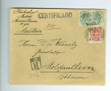 SPAIN: Rergistered cover to Austria 1910.