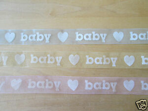 23mm BABY GIRL BOY ORGANZA RIBBON blue or pink  x 5metres Baby shower decoration