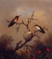 ZWPT290 large 100% hand-painted modern Hummingbird birds art oil painting canvas