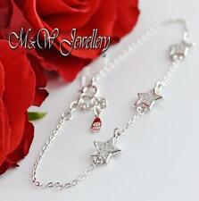 Solid 925 Sterling Silver Rhodium Plated Chain Bracelet STARS with Zirconia
