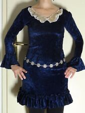 Kleid Paillettenkragen Pannesamt 34 36 xs s Handarbeit Rüschen Trompetenärmel