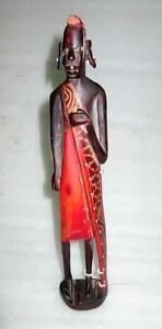 Antique Old Collectible Rose Wood Primitive African Tribal Man Figure Folk Art