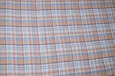 Baumwolle Flanell Stoff blau-beige kariert Meterware #02053