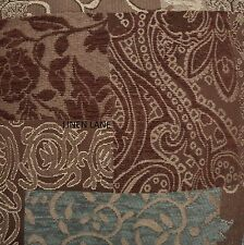 CROSCILL Galleria KING COMFORTER SET NWT 5pc PILLOW Brown Teal PATCHWORK Floral