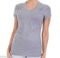 WOMEN'S DANSKIN NOW SEMI-FITTED SHIRRED PERFORMANCE V-NECK TOP YOGA - GRAY - NWT