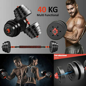 40kg Adjustable Dumbbell And Barbell Set Home Gym Weights Fitness Workout Weight