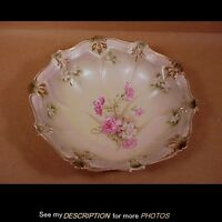 "Antique 10"" RS Prussia Bowl Mold 332 Foral Carnation Decoration Red Mark"