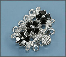Fine Sterling Silver 4-strand Flower Pearl Box Clasp with CZ Black #51470
