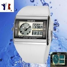 MONTRE SPORT LED DUAL TIME BLANCHE-CHRONOMETRE-HOMME/FEMME-MEN/WOMEN
