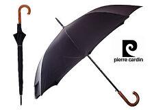 Parapluie noir Pierre Cardin Marron poignée crochet en bois ouvert auto PARAGUAS