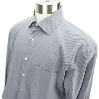 Peter Millar Blue and Gray Checkered Button Front Long Sleeve Shirt Mens Large