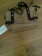 FRANCESCO BIASIA light brown /dark brown Genuine Leather Medium Tote Bag