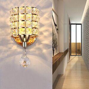 Modern Chrome Crystal 5W LED Wall Light Lamp Bedroom Living Room Home Decor US