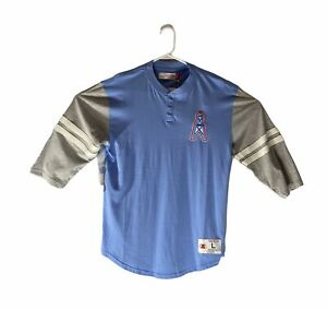 Houston Oilers Mitchell & Ness Team 3/4-Sleeve Henley Shirt Columbia Blue Size L