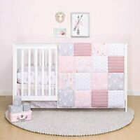 """The Peanut Shell """"MEADOW"""" pink/gray 3 Piece Baby Crib Reversible Bedding ~NEW!"""