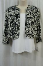 Jessica Howard Bolero Sz 6 Black Ivory Open Front Jersey Cocktail Dress Shrug