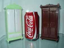 2 SEVEN TOWNS MINIATURE CABINET FURNITURE WARDROBES FOR/FITS DOLLHOUSE SIZE DOLL