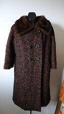 Vtg 50s Nubby Tweed Coat Womens Fur Collar 3/4 Sleeve Berger Buffalo Usa