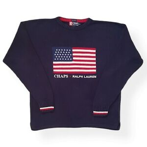 CHAPS RALPH LAUREN ICONIC Polo -Vintage  Jumper - USA American Flag NAVY M