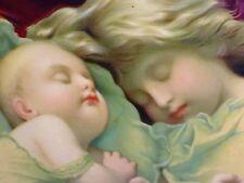 REGARDANT LE RÊVE DES ENFANTS. LITHOGRAPHIE COULEUR. ESPAGNE. FIN XIX SIÈCLE