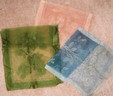 "3 Vtg Matching Oblong Rose & Sheer Area Scarves Blue Green Peach 42"" x 14"" Japan"