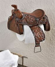 Western Saddle Design Toilet Paper Holder Rustic Brown Polystone