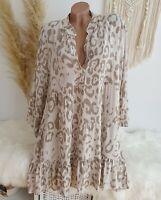 Oversize Blusenkleid Tunika Kleid Blogger Mini Animal Leo Beige Creme 38 40 42