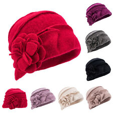 Womens vintage 1920s Gatsby style Wool Bucket Cloche Beanies Winter Hats A376