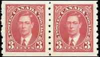 1937 Mint NH PAIR of Canada 3c VF Scott #240 Mufti Coil Stamps