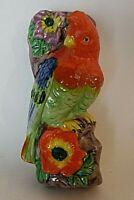 "Vintage Wall Pocket Made in Japan Tropical Bird w/Orange Flower 7.5"" Ceramic"
