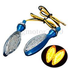 2x Amber LED Short Stalk Motorcycle Turn Signal Indicator Light Lamp Blue Case