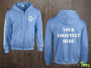 Custom Printed Zipped Hoodie Unisex Personalised Stag Hen Workwear Conference