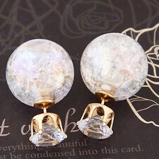 Cute Candy Color Double Side Round Pearl Earing Resin Crystal Ball Ear Studs
