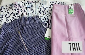 TAIL Women's Golf LOT Size Lg Short Sleeve/Sleeveless Shirts & Size 12 Skort NWT