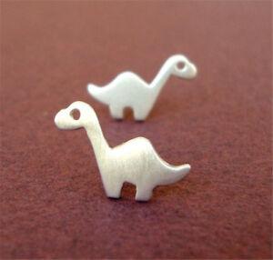 Brontosaurus Silver Earrings Women Dinosaur Stud Earrings Men Girls Jewelry Gift
