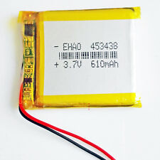 610mAh 3.7V rechargeable lipo Polymer Battery For MP3 Bluetooth headphone 453438