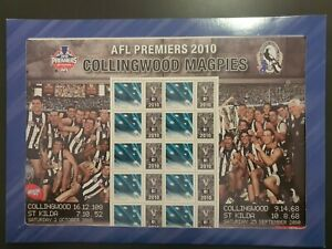 AFL Premiers  2010. COLLINGWOOD FOOTBALL CLUB  SOUVENIR STAMP SHEET SES