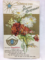 Vintage Embossed September Birthday Card Postcard Azure Sapphire Birthstone