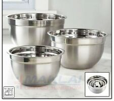 Set of 3 MIXING BOWL SET Stainless Steel 18/22/26cm Small Large Deep Metal Dish
