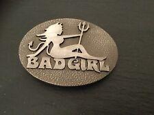 BAD GIRL Logo New BELT BUCKLE Metal  Badgirl Devil Tail Horns and Trident