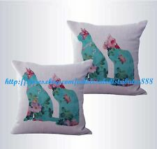US SELLER-set of 2 shabby chic retro love cats couple cushion cover pillow cover