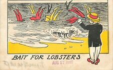 "Comic Pun~Vintage Bathing Beauties Dive~Man Watches Legs in Surf~""Lobster Bait"""