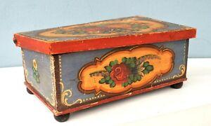 Antique Folk Art Hand Painted Box late 19th century