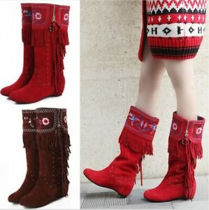 Ladies Mid Calf Stud Tassels Low Heel Womens Chinese Style Suede Boots Shoes New